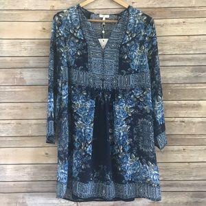 Joie blue floral silk tunic dress NEW Sz XS